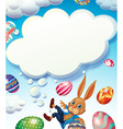 Happy Easter theme with bunny in the sky vector image