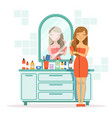 happy woman combing hair a front of mirror vector image