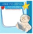 Postcard little kid listening to music vector image