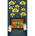 Tablet PC with Hands and Icons infographic vector image