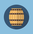 Wooden barrel flat icon vector image