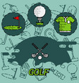 golf flat concept icons vector image