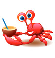crab and coconut vector image