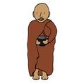 Cute young monk cartoon vector image