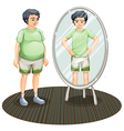 A fat man outside the mirror and a skinny man vector image