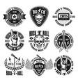 rock n roll music vintage emblems labels badges vector image