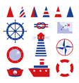 Sailor and sea icons isolated on white vector image
