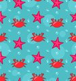 Seamless Background with Starfish and Crabs vector image