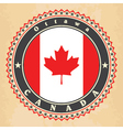 Vintage label cards of Canada flag vector image