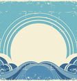 Vintage sea waves and sunAbstract nature image vector image