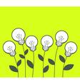 white lightbulbs growing on green backgro vector image