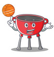 with basketball barbecue grill cartoon character vector image