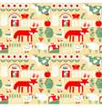 seamless pattern with farm and cute animals vector image