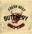 fresh beef butchery hand drawn cow head on grunge vector image