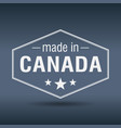 made in canada hexagonal white vintage label vector image