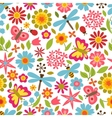 Natural pattern with beautiful flowers beetles vector image vector image