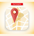 Map Navigation App Icon Flat Style Design vector image