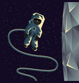 astronaut spacewalk near the moon vector image