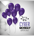 cyber monday offer with shopping car and balloons vector image
