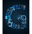 Letter G font from numbers vector image