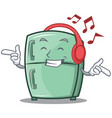 listening music cute refrigerator character vector image