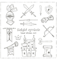 Sketch knight symbols and elements set vector image