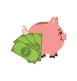 piggy bank and money icon vector image vector image