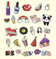 colored fashion patch badge set vector image