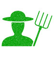 farmer with pitchfork icon grunge watermark vector image