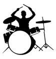 Silhouette of drummer playing drums on white vector image
