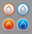 Fire and water icons vector image vector image