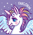 cute unicorn stars greeting card vector image