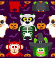 halloween background seamless with animal vector image