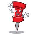 waving red pin character cartoon vector image