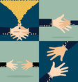 Hand with money conins Modern Flat design c vector image