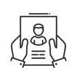 Resume - line design single isolated icon vector image