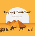 happy passover in hebrew jewish holiday card vector image