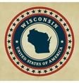 Vintage label Wisconsin vector image