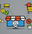 Modern web commerce Flat design shopping concept vector image vector image