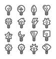 creative light bulb line icon set vector image