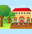 four kids hulahoop and jump rope at school vector image