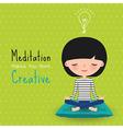 Meditation creative woman cartoon vector image