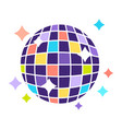 night club disco ball with sparkling lights party vector image