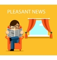 Pleasant news concept Businessman reading vector image
