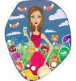 woman with funny monsters vector image