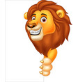 cartoon lion holding blank sign vector image vector image