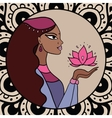 Indian woman with lotus vector image