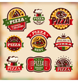 Set of vintage styled pizza labels vector image vector image