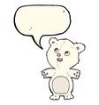 cartoon happy little polar bear with speech bubble vector image