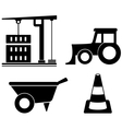 industrial set with construction objects vector image